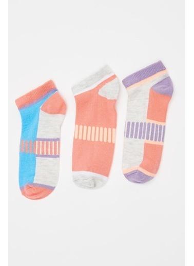 Defacto –Fit Kız Çocuk Desenli Patik Çorap 3'lü Renkli